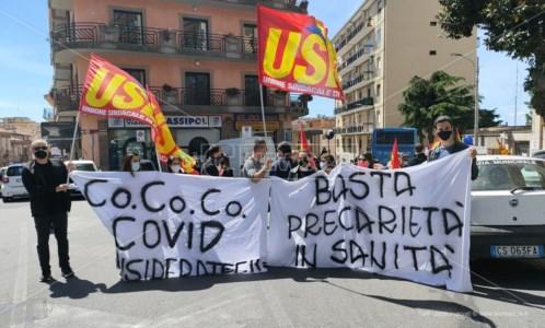 Sant'Anna hospital, sit-in di protesta dell'Usb: «Basta precarietà in sanità»