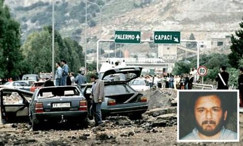La strage di Capaci e l'ex killer Brusca (foto ansa)