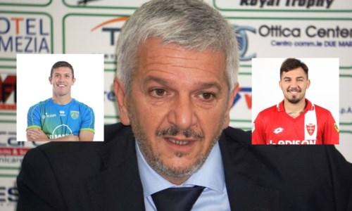 Fabrizio Maglia, nei riquadri Fabio Scarsella a sinistra e Cosimo Chiricò a destra