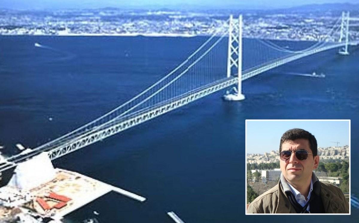 Il ponte così come appare nel progetto e, nel riquadro, Roberto Di Maria