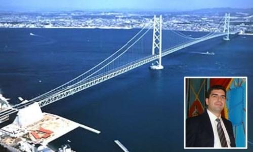 Il progetto del ponte e, nel riquadro, Roberto Di Maria