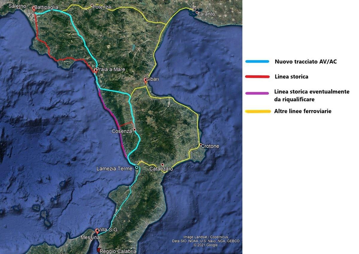 Nuovo tracciato Alta velocità Salerno-Reggio Calabria