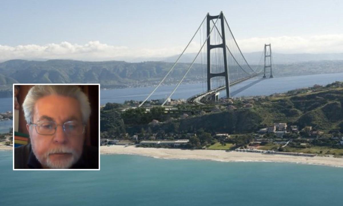 Il ponte in un'immagine del progetto. Nel riquadro, Giovanni Mollica