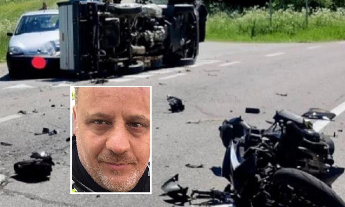 La vittima, Marco Caridi e sullo sfondo l'incidente (foto Il Dolomiti)