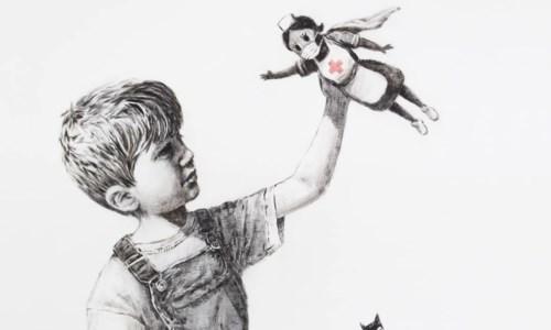 L'opera di Banksy dedicata agli operatori sanitari