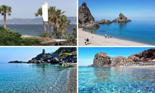 In alto da sinistra il lungomare di Reggio Calabria e la spiaggia dell'Univo a Palmi; in basso le spiagge di Bagnara e Scilla