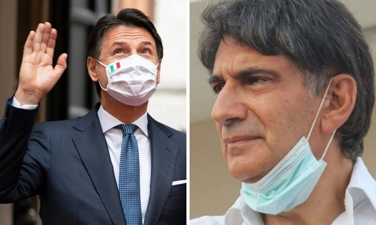A destra Giuseppe Conte, a sinistra Carlo Tansi