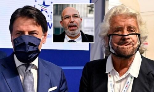 A sinistra Giuseppe Conte, a desta Beppe Grillo. Nel riquadro Vito Crimi (foto Ansa)
