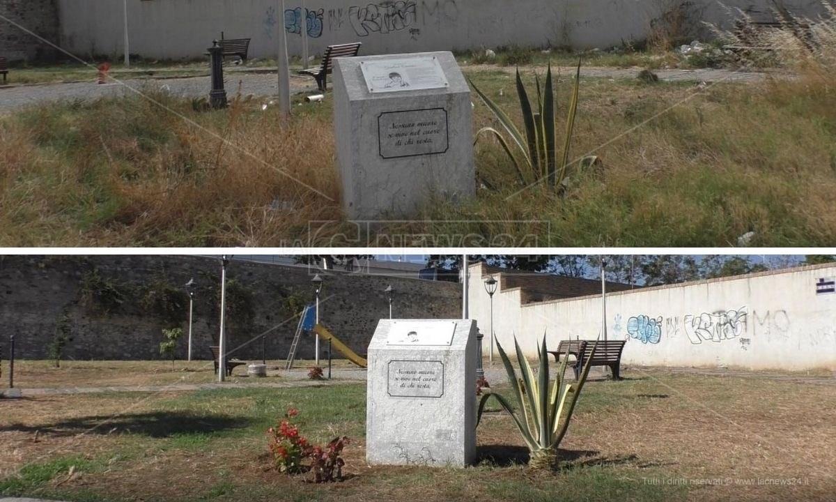 Piazza Gianluca Canonico Reggio Calabria prima e dopo la recente pulizia