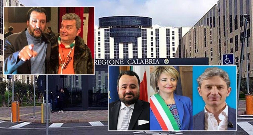 Nel riquadro a sinistra Matteo Salvini con Nino Spirlì. A destra: Vito Pitaro, Maria Limardo e Giuseppe Mangialavori