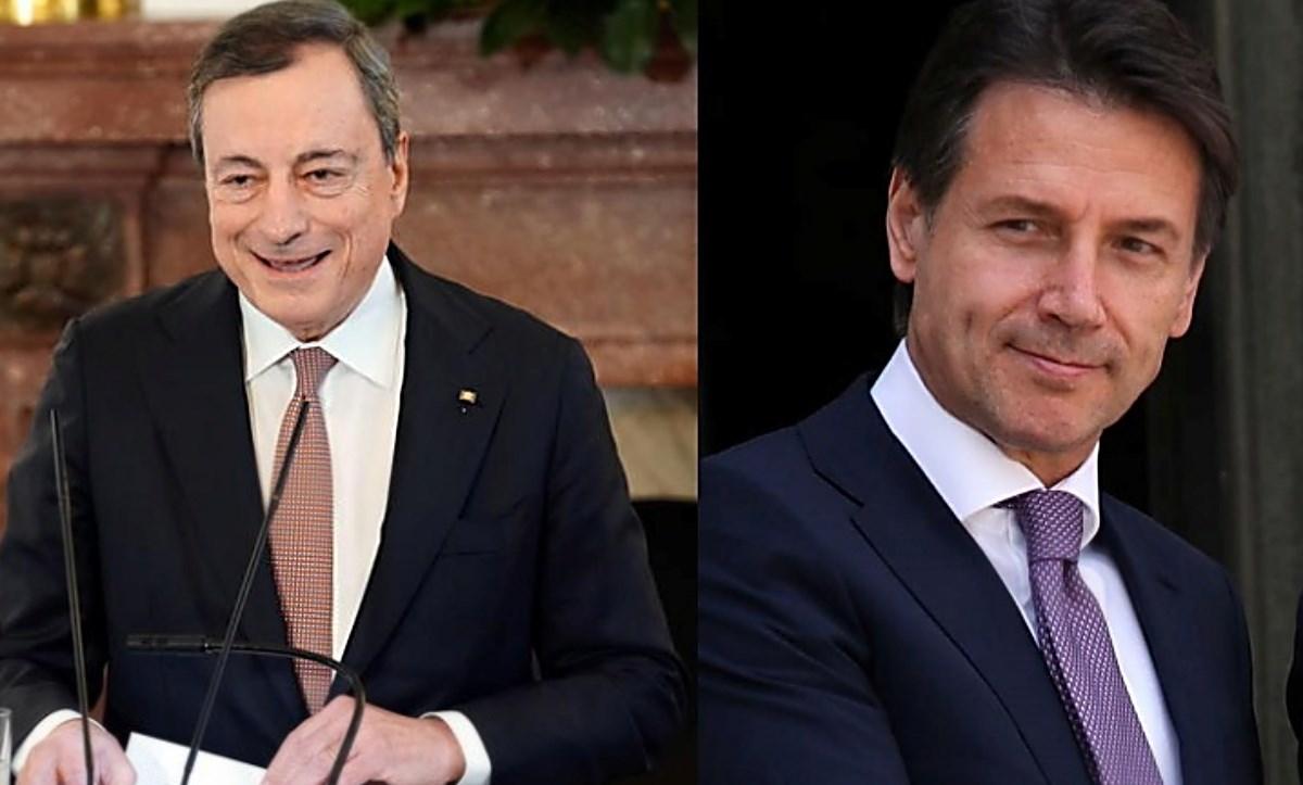 Il premier Draghi (foto ansa) e il leader 5s Conte (foto fb)