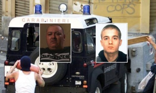 Nel riquadro a sinistra Mario Placanica, a destra Carlo Giuliani