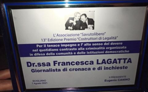 Il riconoscimentoScigliano, la giornalista di LaC Francesca Lagatta premiata tra i Costruttori di legalità