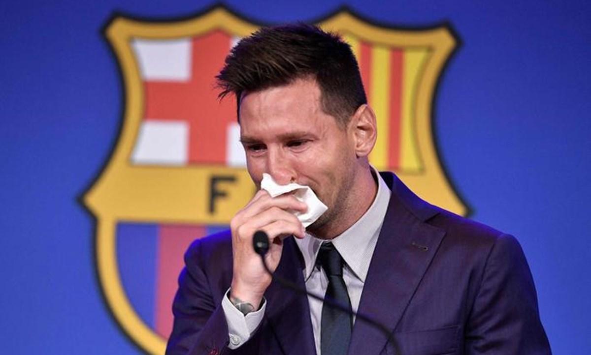 La commozione di Messi durante la conferenza stampa