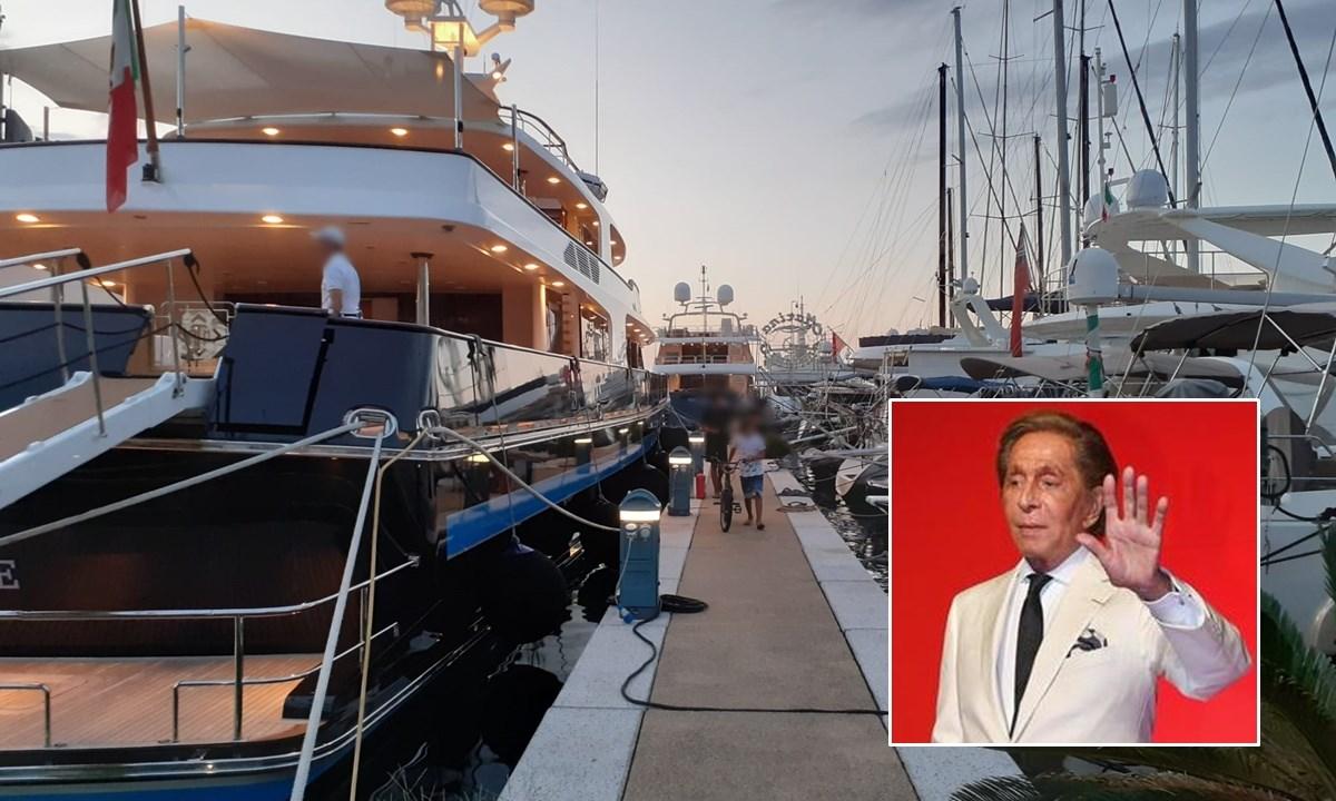 Lo yacht a Vibo Marina e, nel riquadro, Valentino