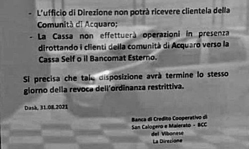 Effetto CovidCovid, banca impedisce l'accesso ai correntisti di Acquaro: l'indignazione del sindaco