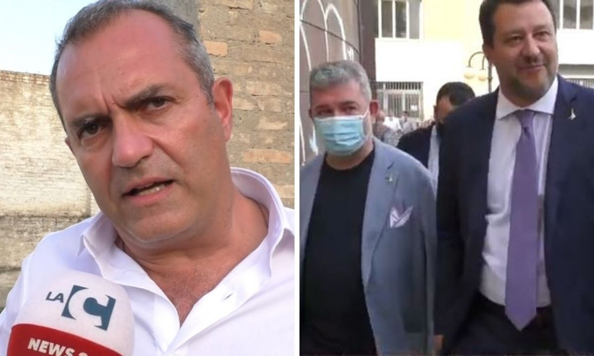 A destra Luigi de Magistris, a sinistra Nino Spirlì e Matteo Salvini