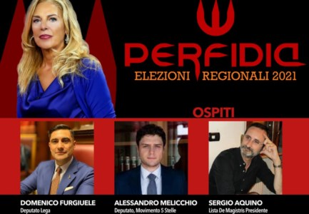 Regionali 2021Perfidia: Melicchio (M5s), Furgiuele (Lega) e Aquino (de Magistris) nelle grinfie di Antonella Grippo su LaC Tv