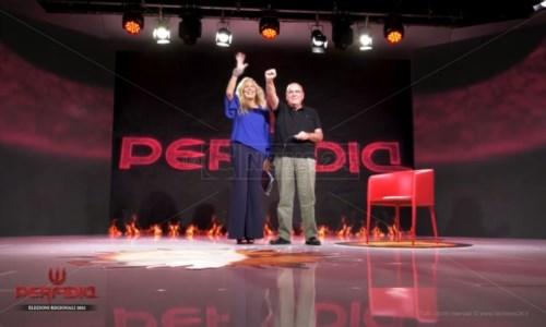 Uno scatto dalla puntata. Antonella Grippo e Mario Oliverio