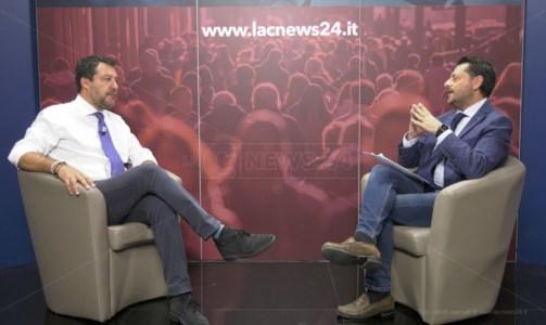 Matteo Salvini intervistato dal vicedirettore del tg LaC News24 Pier Paolo Cambareri