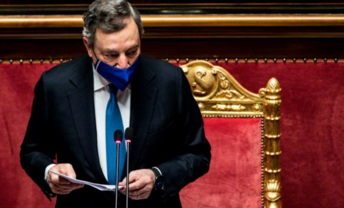 Il premier Draghi, foto ansa
