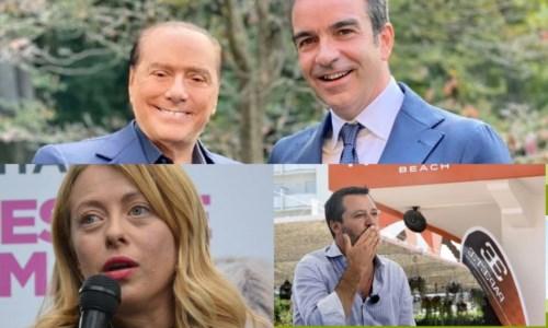 Silvio Berlusconi, Roberto Occhiuto, Giorgia Meloni e Matteo Salvini