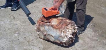 Il fusto ritrovato sulla spiaggia di Sellia Marina