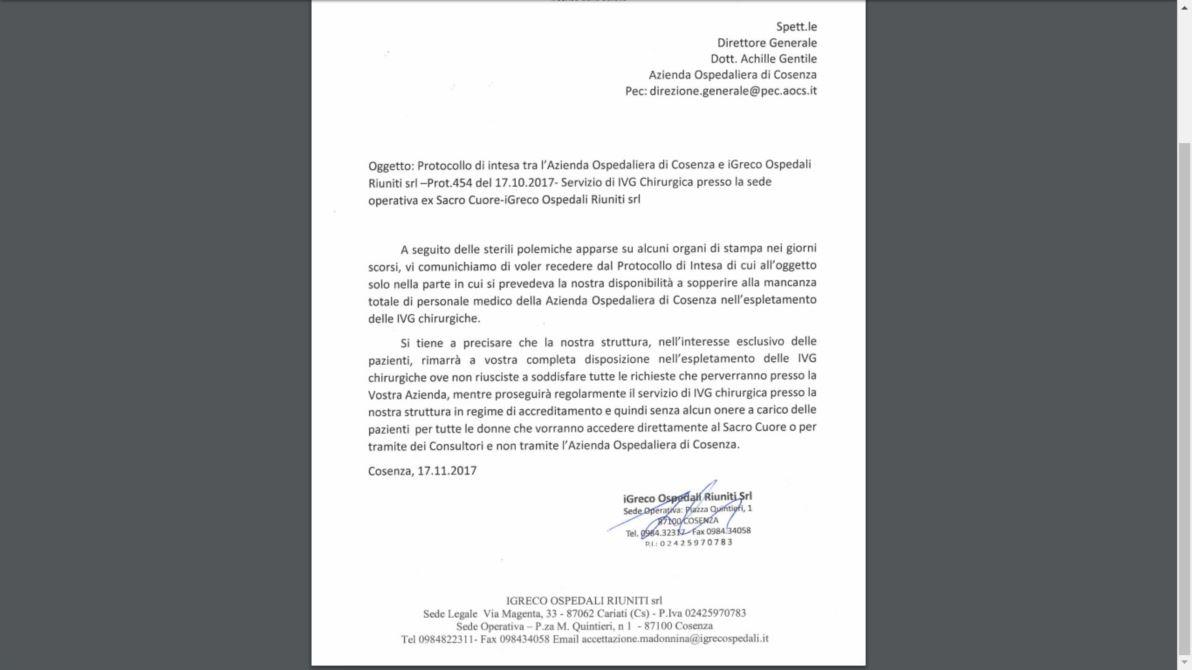 La lettera di parziale recesso inviata dal gruppo iGreco