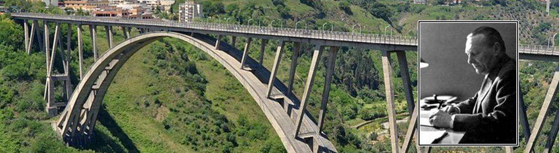 Il ponte di Catanzaro e, nel riquadro, Riccardo Morandi