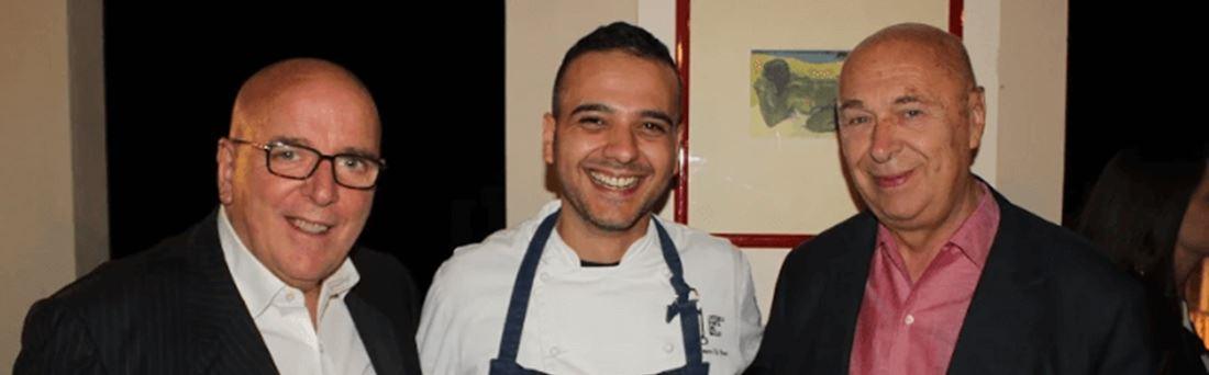 Mario Oliverio con lo chef Di Pace e Paolo Mieli alla cena vip in Umbria