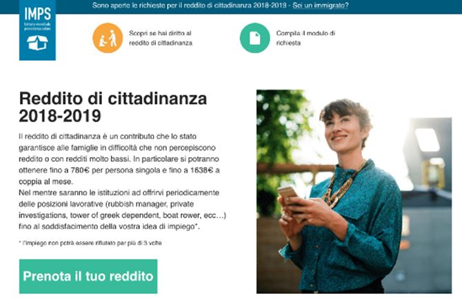 Il finto sito che prometteva il reddito di cittadinanza