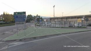 Lo stadio Marco Lorenzon nella parte adiacente la Statale 107