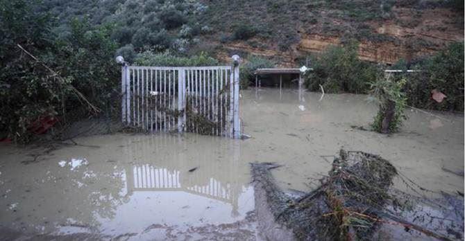 La zona in cui è esondato il fiume nel Palermitano