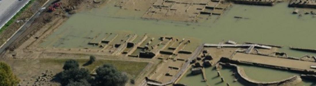 Il parco archeologico di Sibari allagato