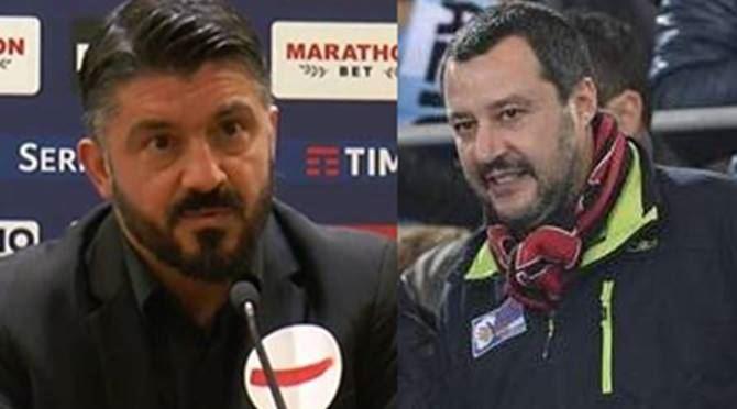 Gennaro Gattuso e Matteo Salvini
