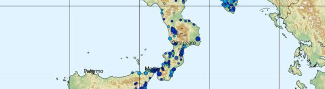 La mappa con le prime segnalazioni della scossa avvertita in Calabria