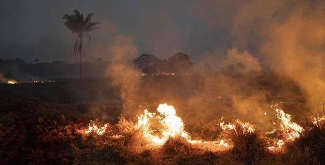Le fiamme in Amazzonia - Foto Ansa