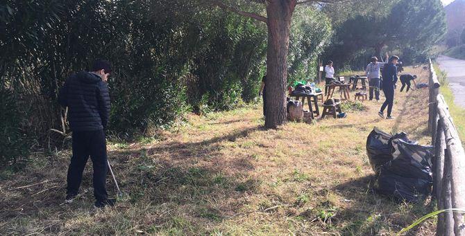 Gli scout puliscono l'area picnic
