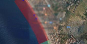 Il tratto interdetto è quello indicato in rosso