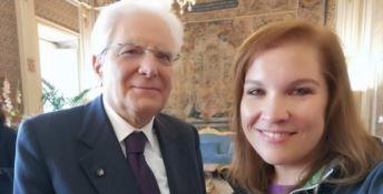 Un selfie della guida Noemi Evoli con il presidente Mattarella