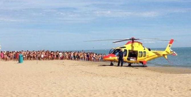 L'elisoccorso in spiaggia