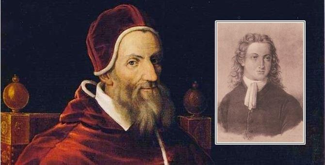 Papa Gregorio XIII. Nel riquadro, Luigi Lilio