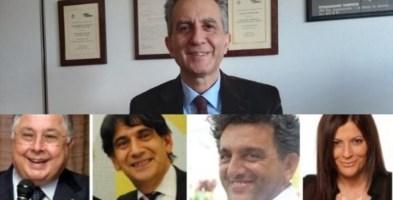 In alto il rettore Unical Nicola Leone, in basso i quattro candidati alla presidenza della Regione Calabria