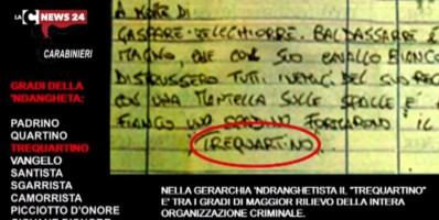 Un pizzino di promozione degli affiliati sequestrato nel blitz anti 'ndrangheta