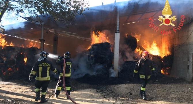 Incendio in una stalla a Borgia
