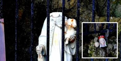 Orrore a Briatico, decapitata la statua della Madonna col Bambinello