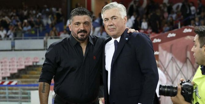 Rino Gattuso e Carlo Ancelotti