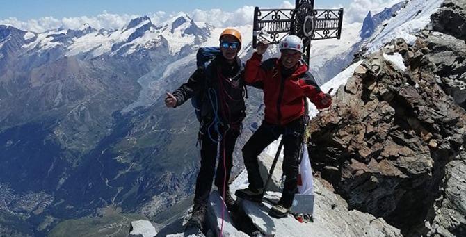 Gli alpinisti sulla vetta