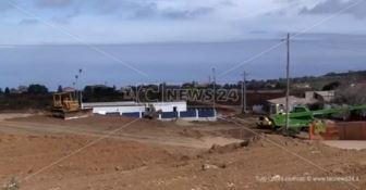 Il cantiere allestito per la costruzione del nuovo ospedale di Vibo Valentia