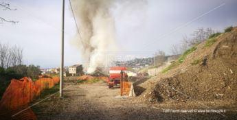 Catanzaro, spaventoso incendio al cantiere della metro